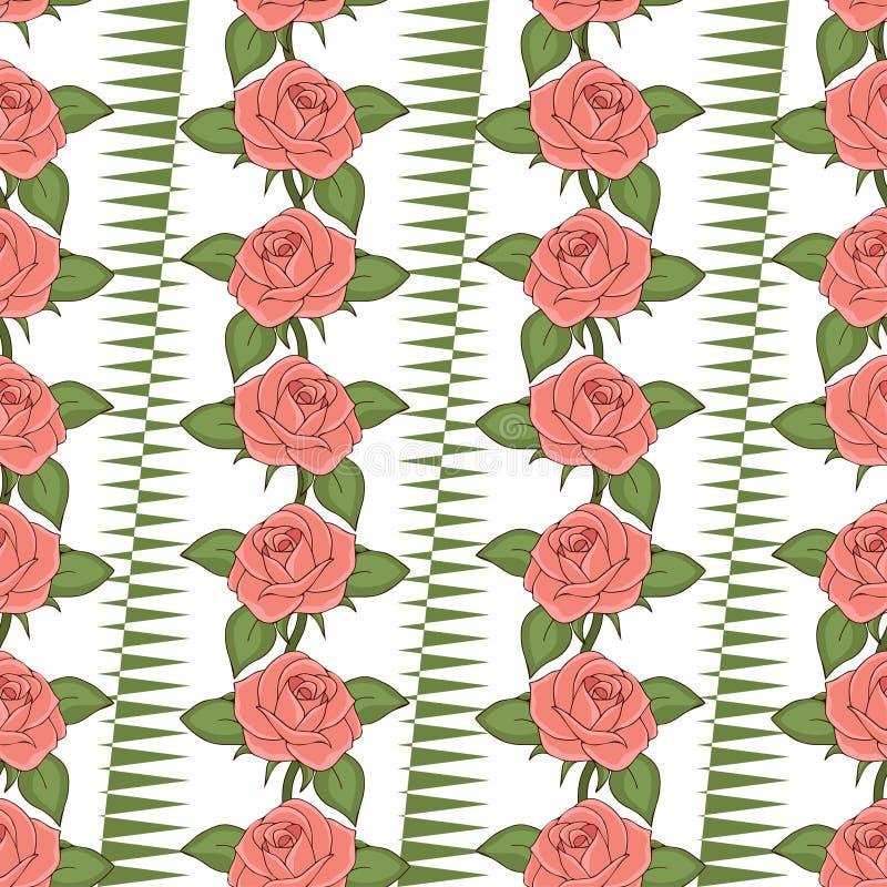 桃红色玫瑰无缝的样式,手图画,传染媒介例证 拉长的花蕾 库存例证