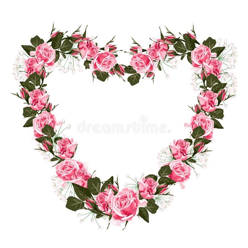 桃红色玫瑰框架的传染媒介例证 五颜六色的花卉心脏,画的水彩样式 向量例证
