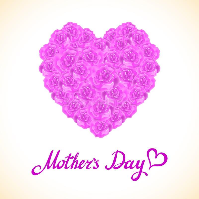 桃红色玫瑰母亲节心脏由紫色玫瑰做成在白色背景 花卉心脏形状传染媒介背景 库存例证