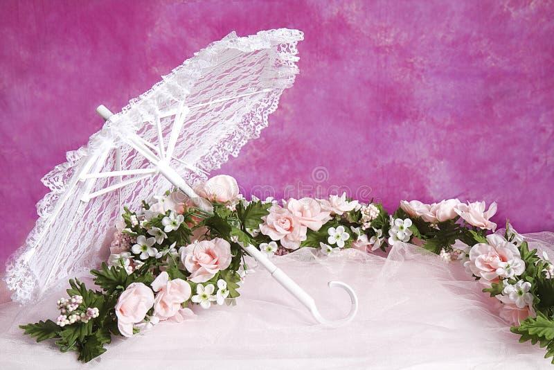 桃红色玫瑰白色鞋带遮阳伞和诗歌选  免版税库存图片