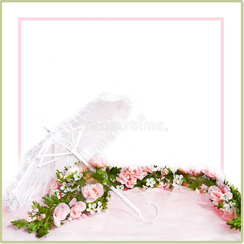桃红色玫瑰白色鞋带遮阳伞和诗歌选  库存照片