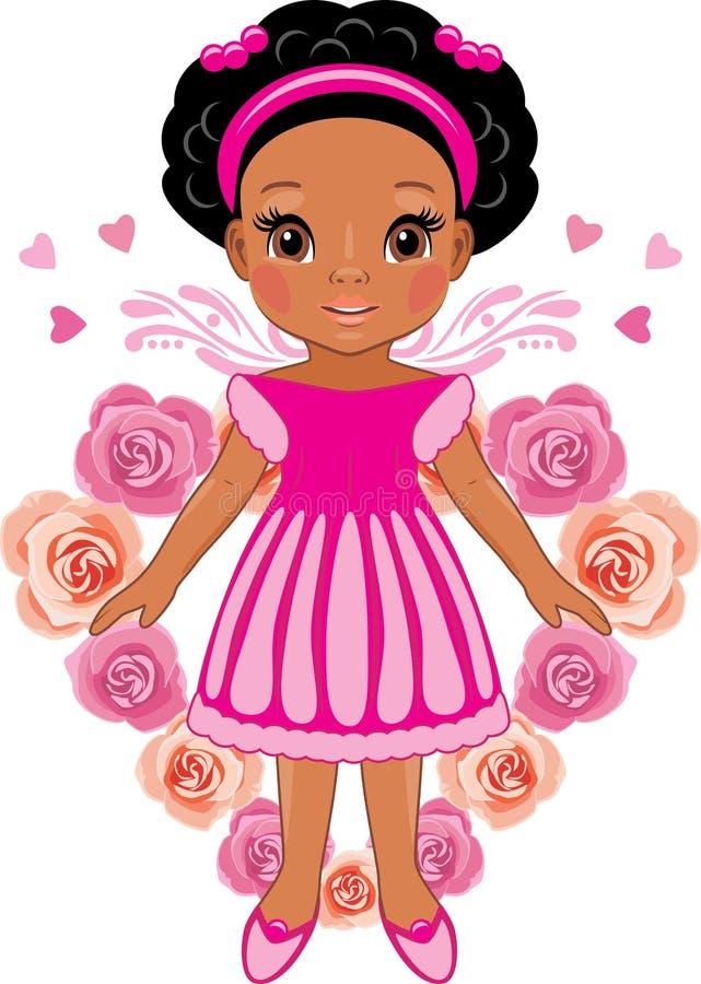 桃红色玫瑰的心脏的背景的蓬松卷发女孩 库存例证