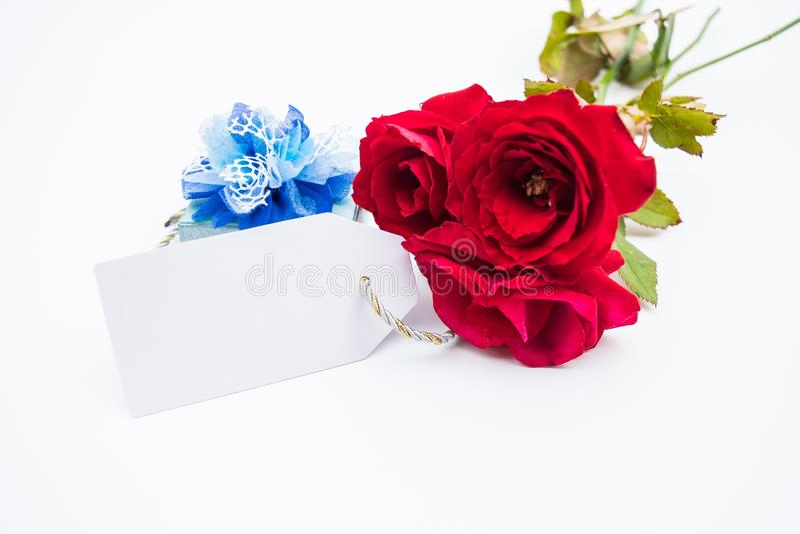 桃红色玫瑰花束与一张愉快的母亲节卡片的在白色 库存图片