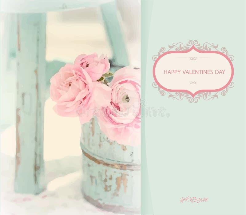 桃红色玫瑰花束在地板上的一个瓶子站立在椅子旁边 在淡色的绘画 免版税库存照片