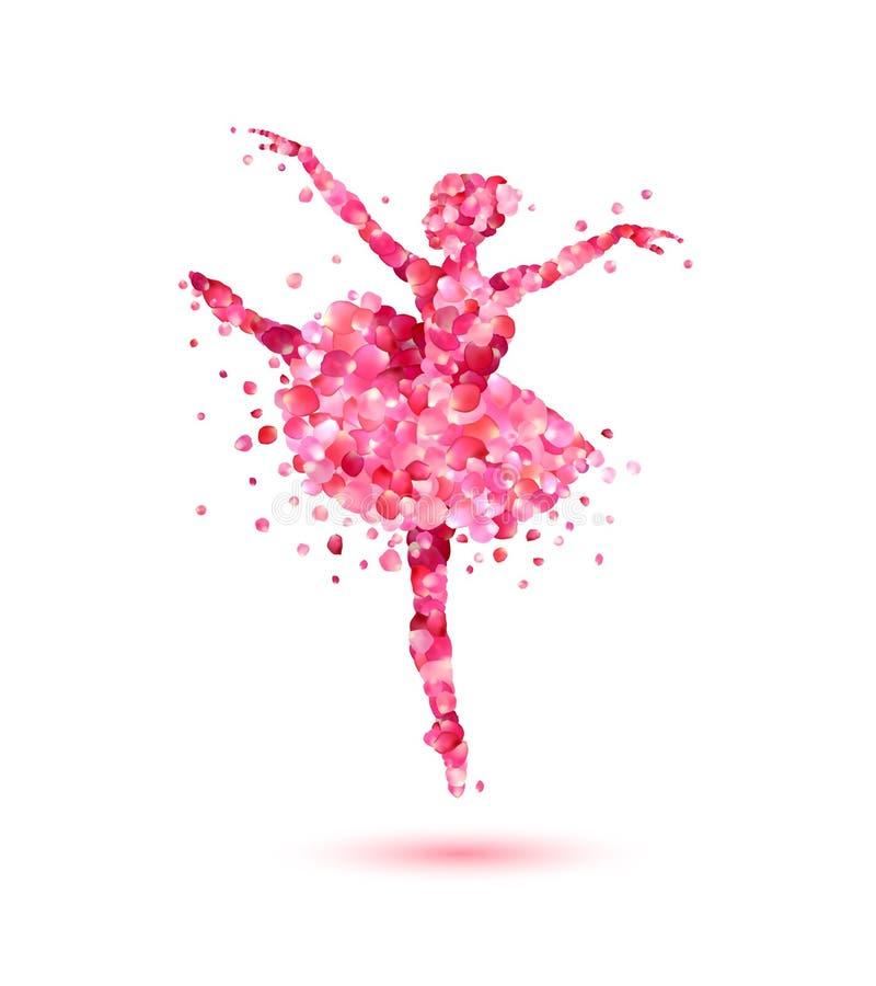 桃红色玫瑰花瓣的芭蕾舞女演员 皇族释放例证