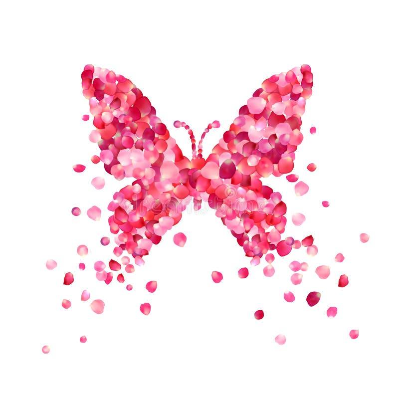 桃红色玫瑰花瓣蝴蝶  皇族释放例证