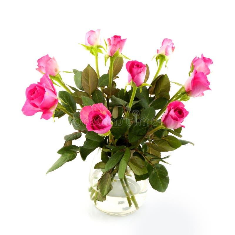 桃红色玫瑰花瓶 免版税库存照片