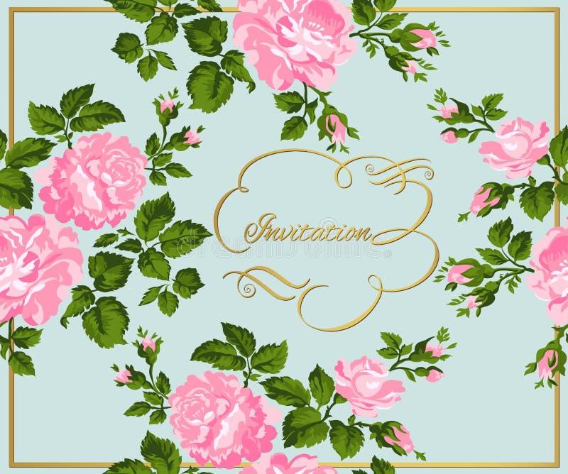 桃红色玫瑰豪华葡萄酒卡片与金子书法的 也corel凹道例证向量 向量例证