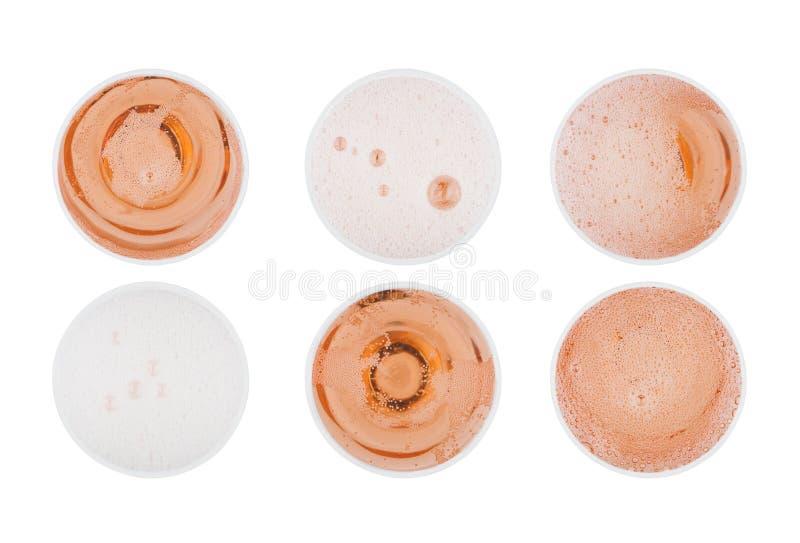 桃红色玫瑰香槟玻璃有泡影顶视图 免版税库存图片