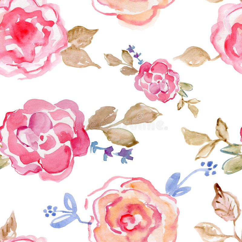 桃红色玫瑰 手画的水彩,葡萄酒例证 皇族释放例证