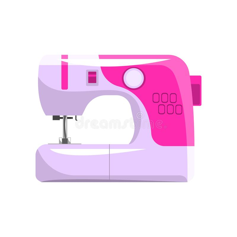 桃红色现代电子缝纫机,裁缝设备在白色背景的传染媒介例证 向量例证