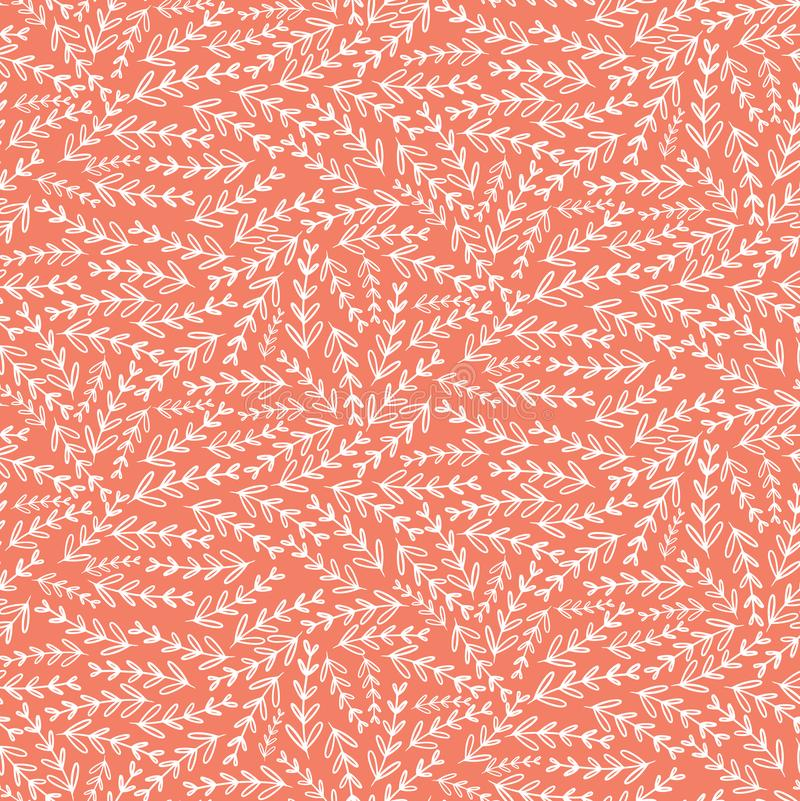 桃红色白色叶子花卉纹理无缝的样式 库存例证