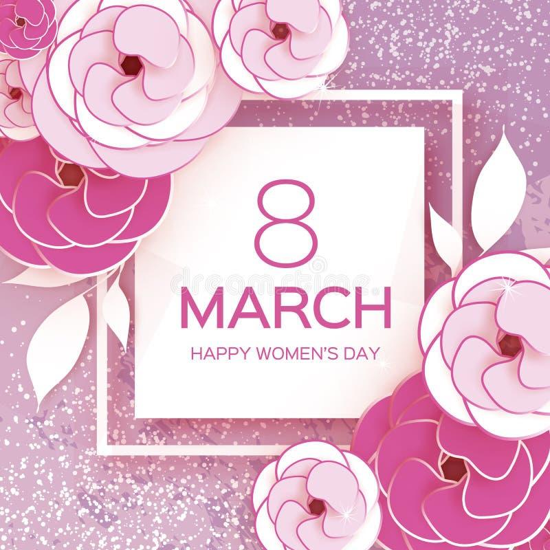 桃红色白色3月8日 愉快的妇女` s母亲` s天 蓝色卡片设计花卉问候 纸裁减罗斯花 Suqre框架 Origami雏菊 库存例证