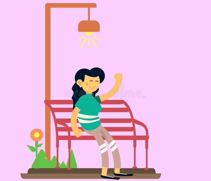 o r 桃红色的一名妇女在挥动的椅子坐并且是愉快的 免版税库存照片