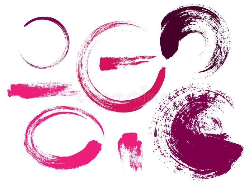 桃红色的传染媒介集合收藏抹上在白色背景隔绝的油漆 皇族释放例证