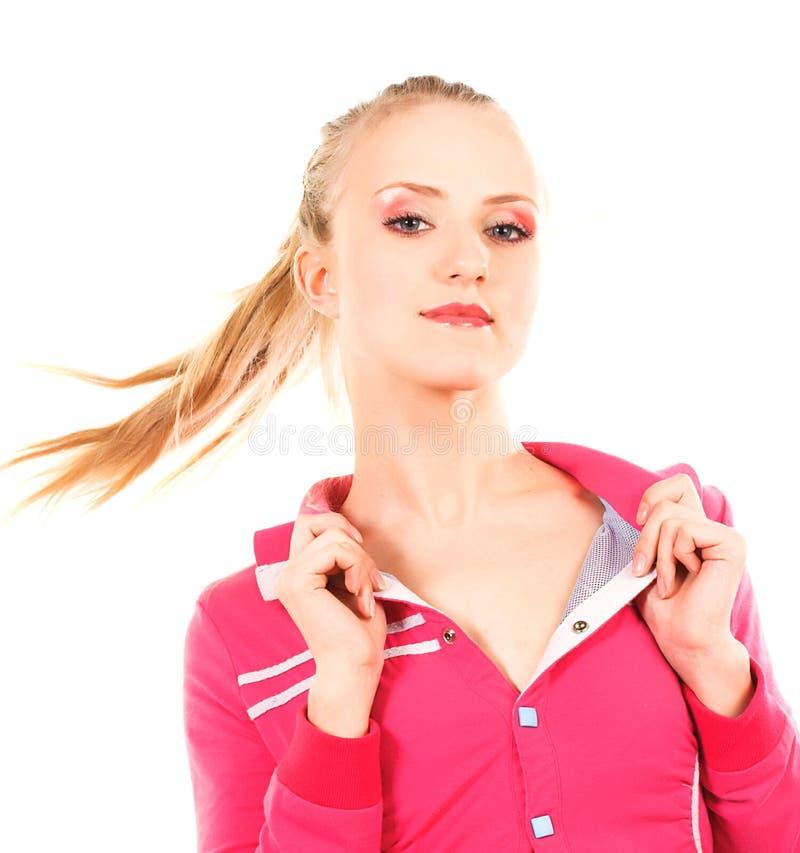 桃红色的可爱的妇女在白色背景 库存图片