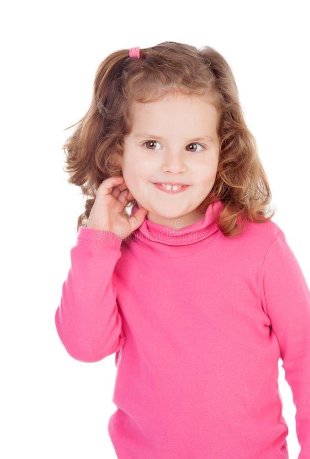 桃红色的害羞的小女孩 库存照片