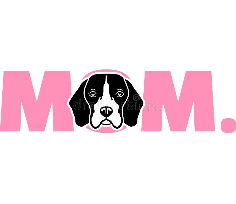 桃红色的小猎犬妈妈 库存例证