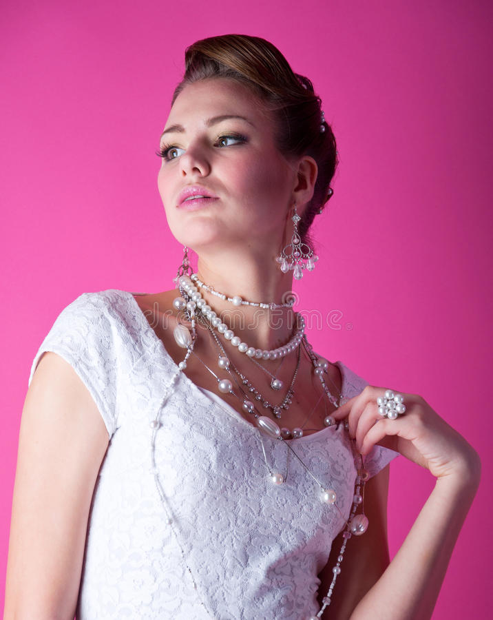 桃红色的新娘 免版税图库摄影
