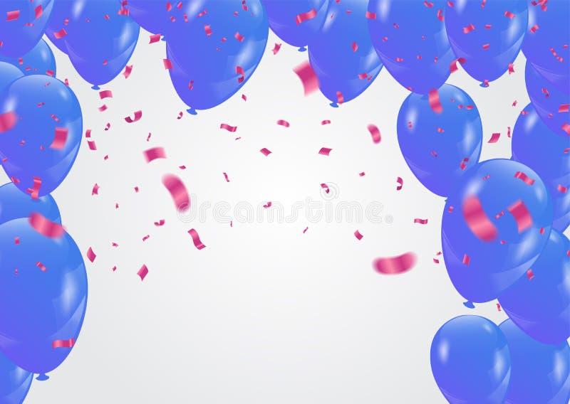 桃红色的色纸和在whi在飞行中隔绝的蓝色气球 皇族释放例证