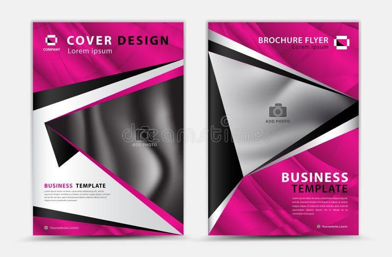 桃红色盖子模板传染媒介设计,小册子飞行物,年终报告,杂志广告,广告,书套布局,海报,化妆用品 向量例证