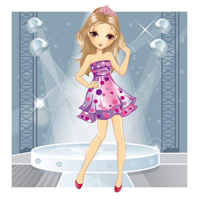 桃红色礼服跳舞的女孩 库存例证