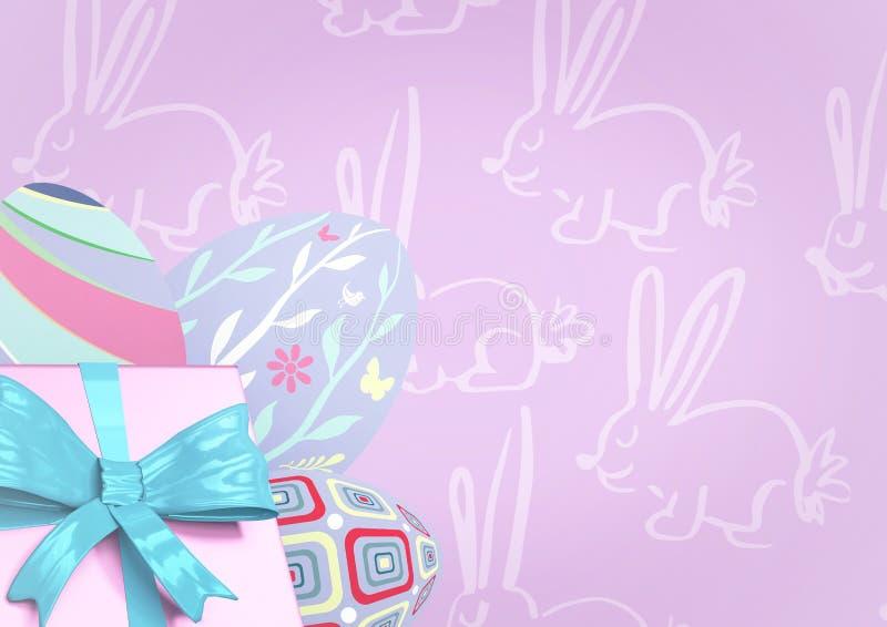 桃红色礼物和紫色鸡蛋反对紫色复活节样式 向量例证