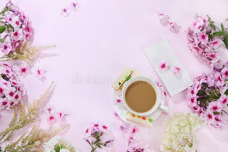 桃红色福禄考、与pastilla在一张木桌上,与地方的顶视图的咖啡和蛋白软糖五颜六色的花文本的,平展 库存照片