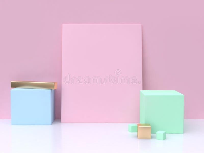 桃红色空白正方形蓝绿色立方体最小的抽象背景3d回报 库存例证
