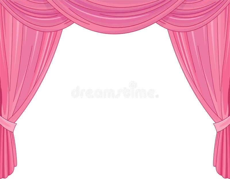 桃红色窗帘 皇族释放例证