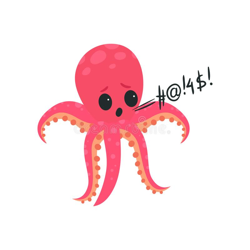 桃红色章鱼生气和响亮地发誓 海生物漫画人物  肮脏的语言 粗鲁软体动物显示恼怒 向量例证