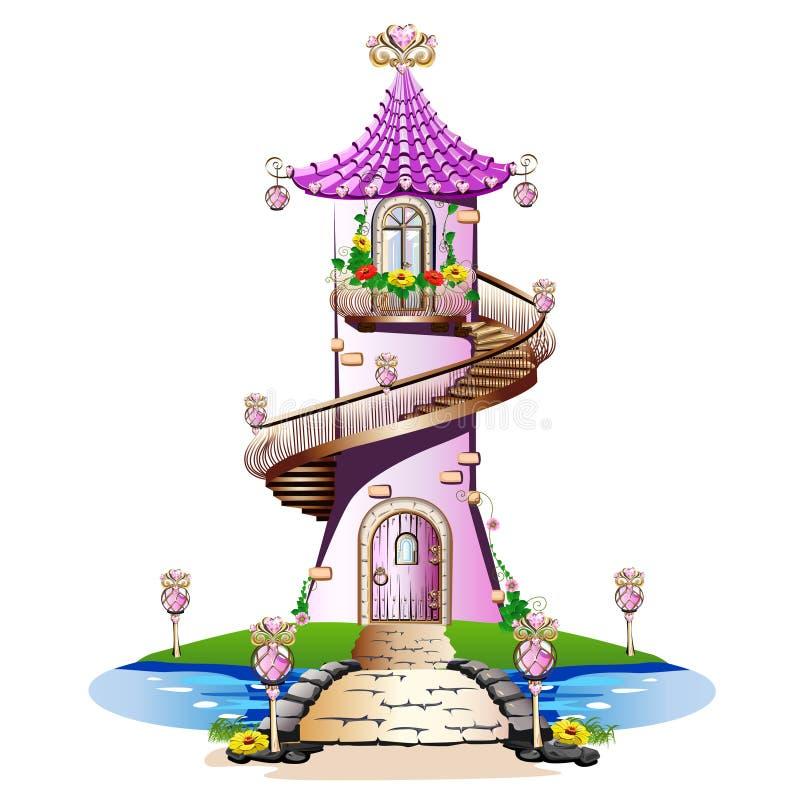 桃红色童话城堡 皇族释放例证