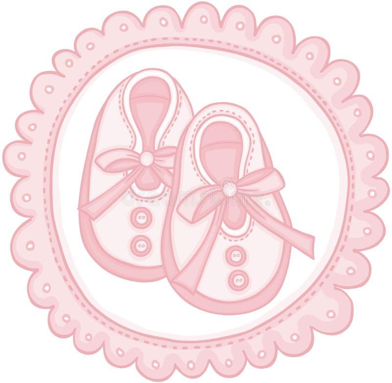 桃红色童鞋圆的标签 皇族释放例证