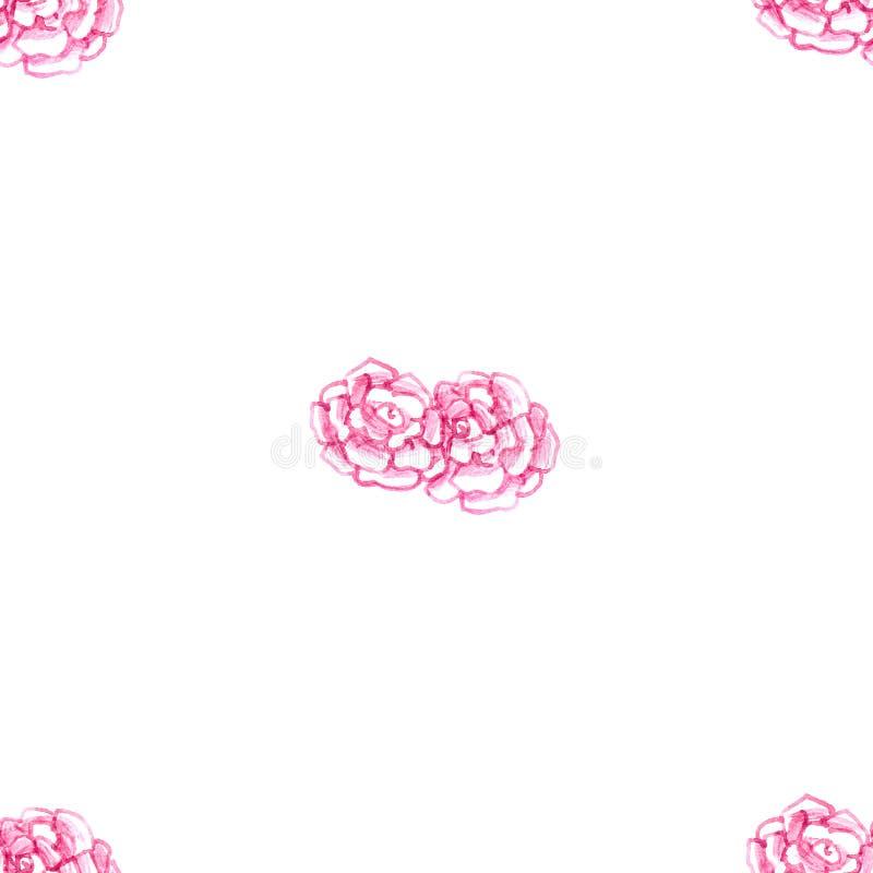 桃红色精美水彩概述开花在白色背景隔绝的玫瑰花瓣无缝的样式 皇族释放例证
