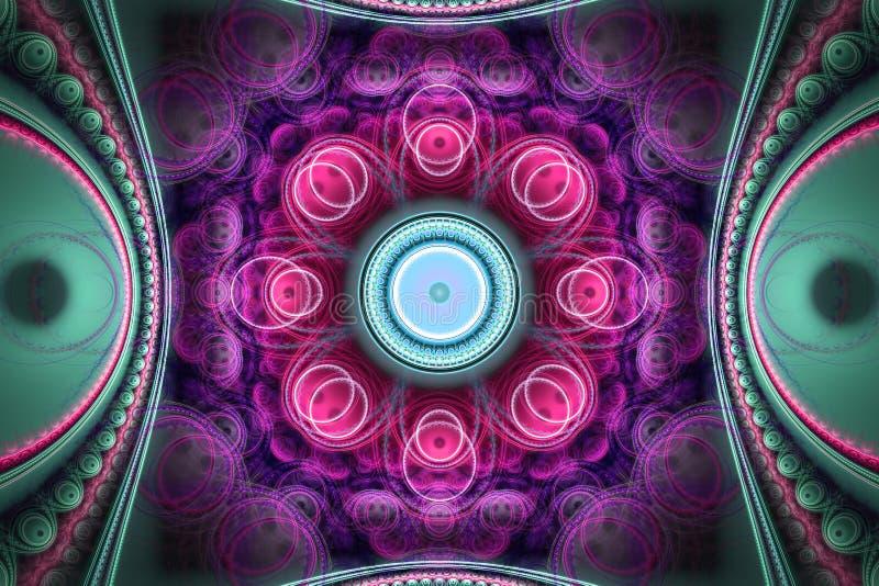 桃红色紫色分数维fraktal几何样式墙纸艺术artsy背景盖子飞行物样式 皇族释放例证