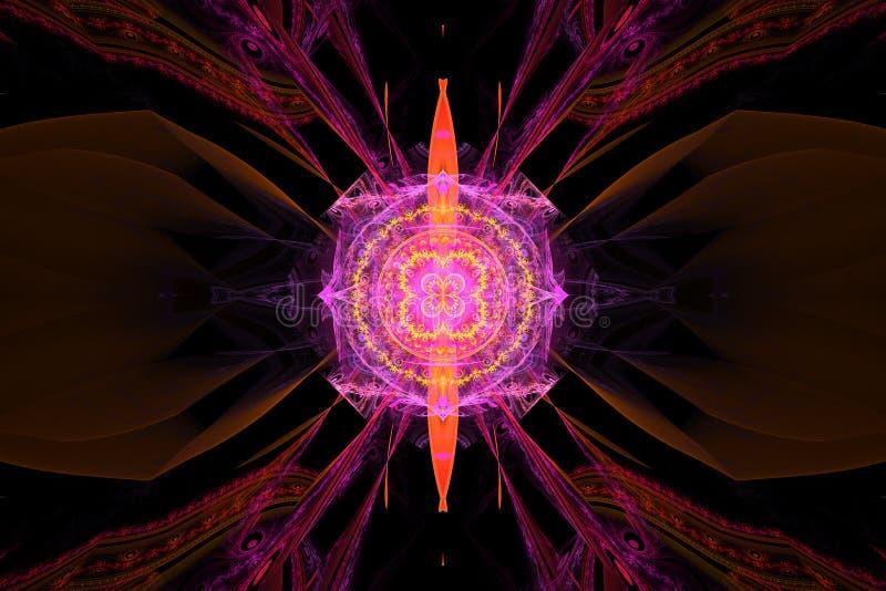 桃红色紫色分数维fraktal几何样式墙纸艺术artsy背景盖子飞行物样式 库存例证