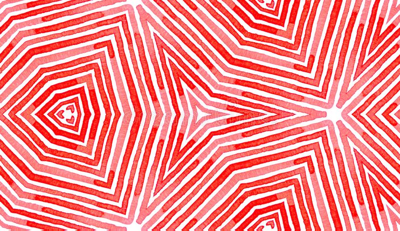 桃红色红色几何水彩 令人愉快无缝 库存例证