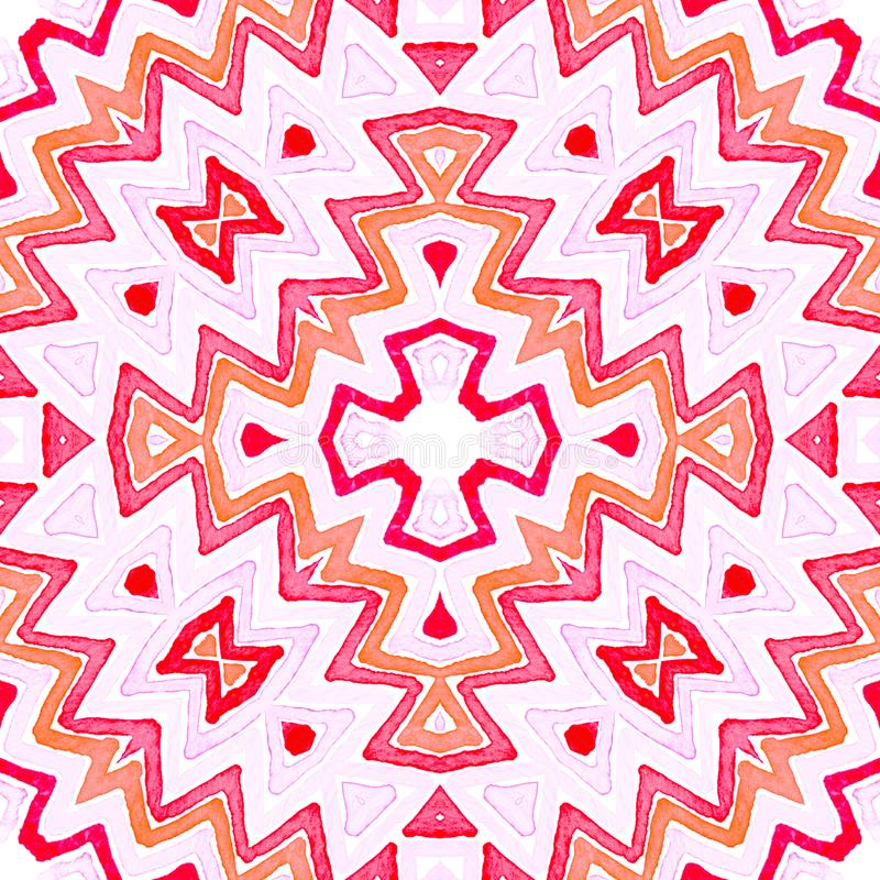 桃红色红色几何水彩 令人愉快无缝 皇族释放例证