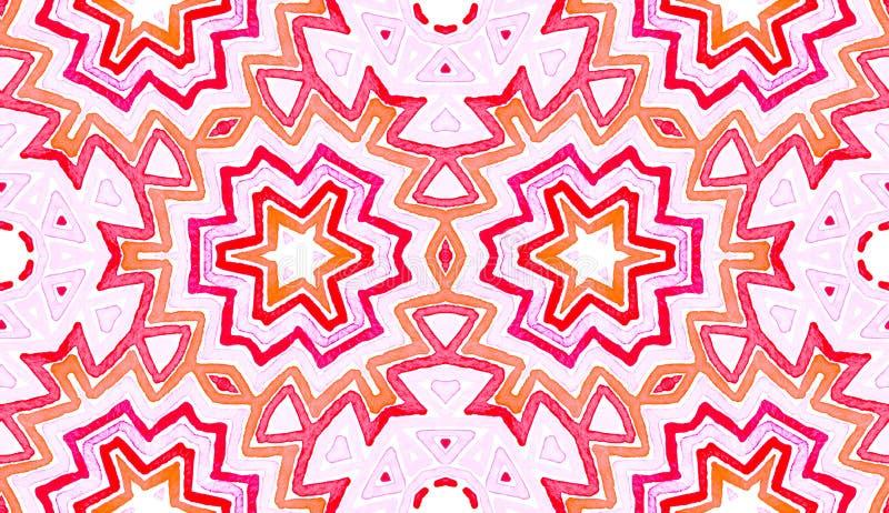 桃红色红色几何水彩 令人愉快无缝 向量例证