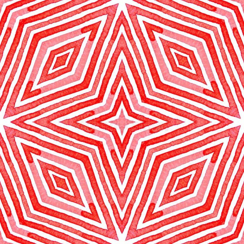 桃红色红色几何水彩 令人愉快的无缝的样式 手拉的条纹 刷子纹理 Unequ 向量例证
