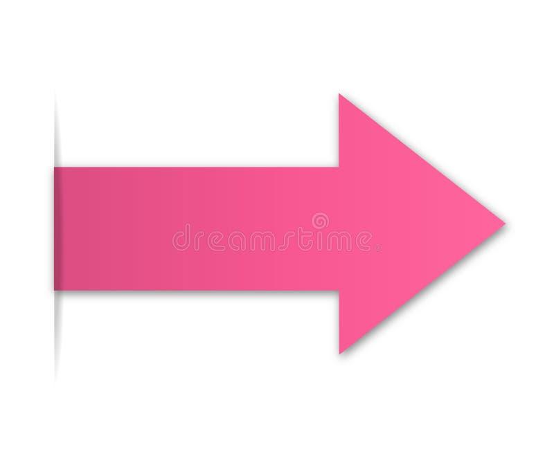 桃红色纸箭头 向量例证