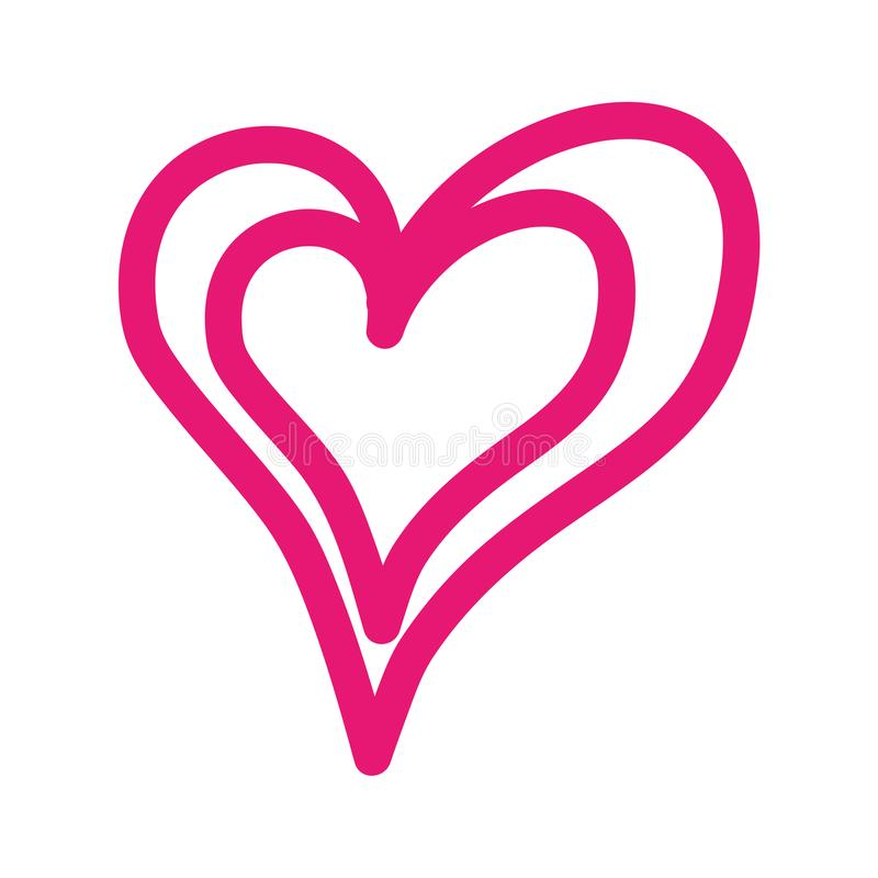 桃红色线性心脏爱浪漫史激情 皇族释放例证