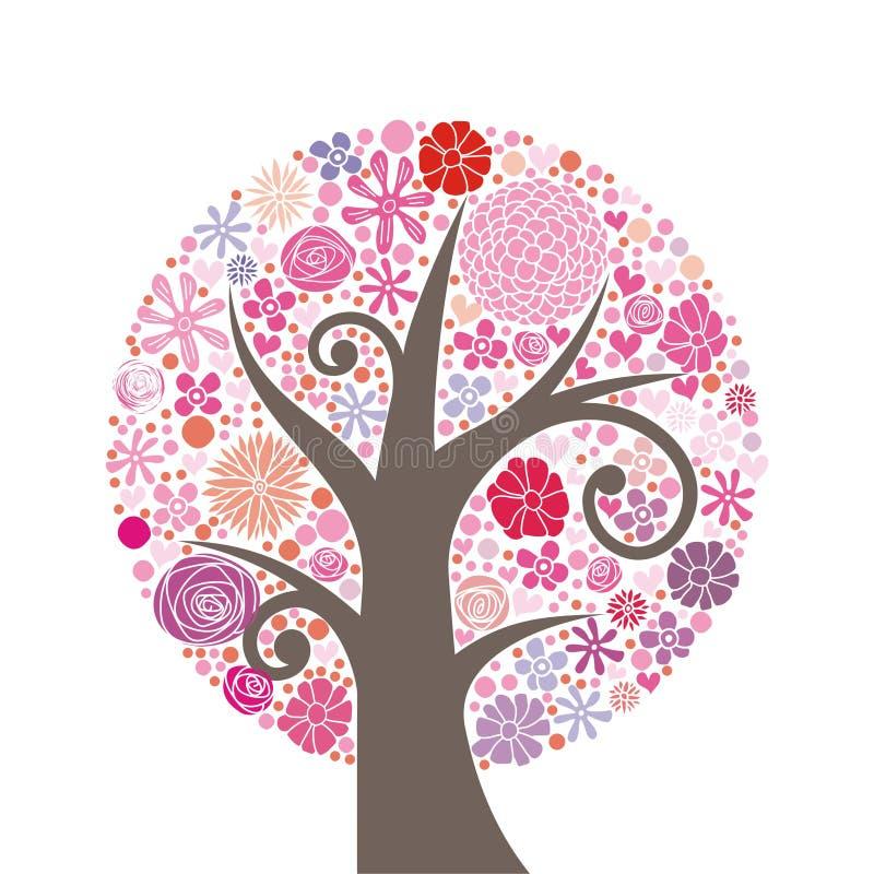 桃红色结构树 库存例证