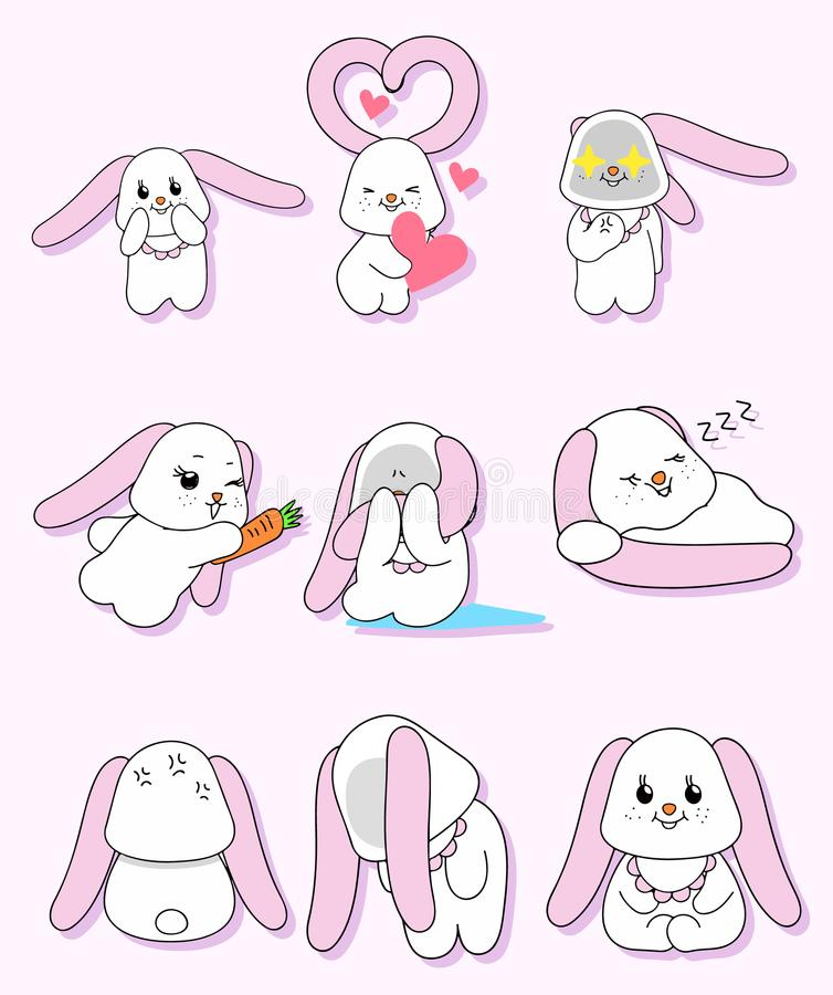 桃红色耳朵兔子字符集 库存图片