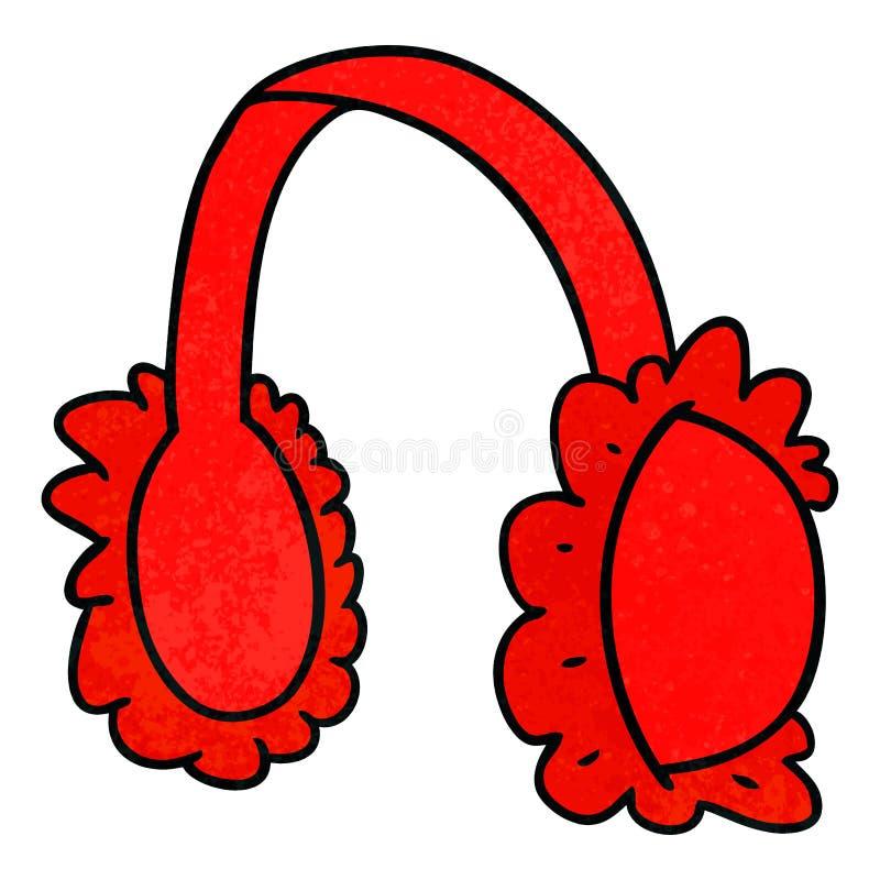 桃红色耳朵笨拙的人取暖器织地不很细动画片乱画  向量例证
