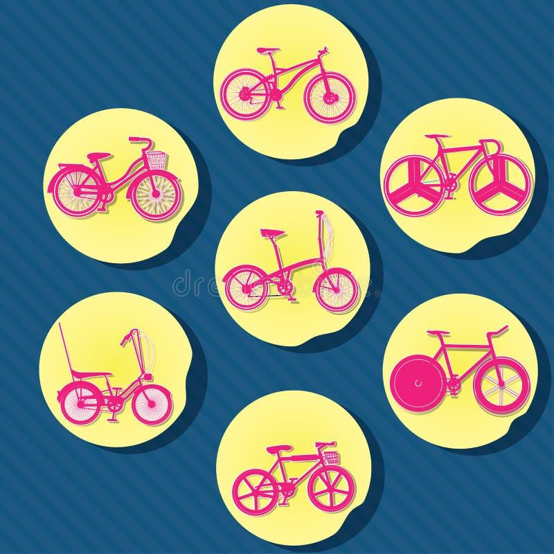 桃红色自行车oncircle纸 库存例证