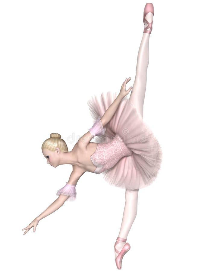 桃红色芭蕾舞短裙的-蔓藤花纹Penché芭蕾舞女演员 向量例证