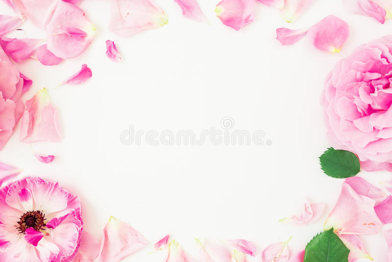 桃红色花、瓣和叶子圆的框架在白色背景 花卉生活方式构成 平的位置,顶视图 免版税库存照片