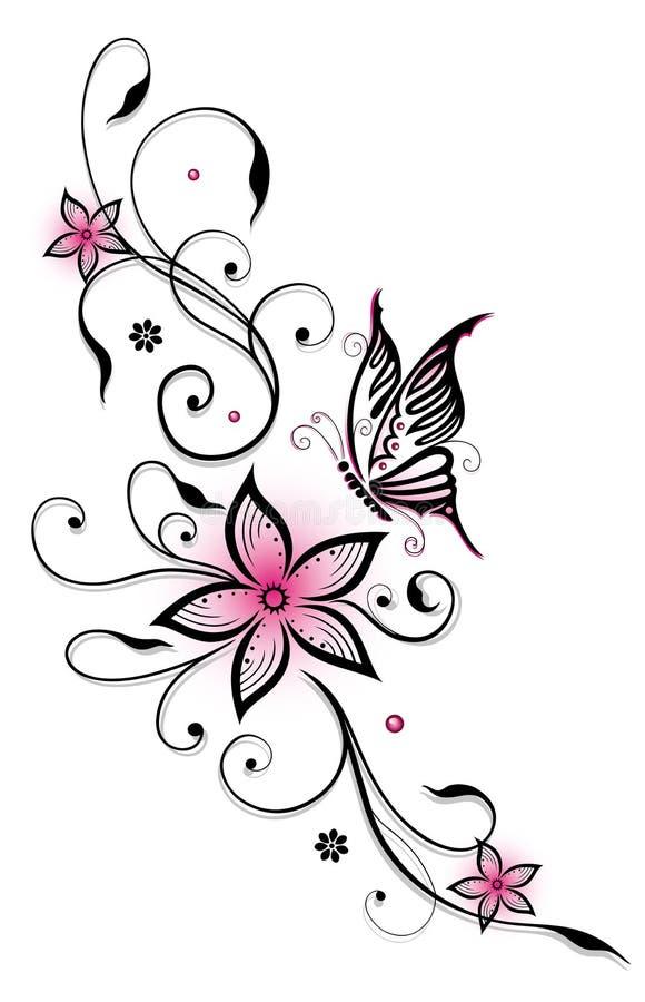 桃红色花卉元素 库存例证