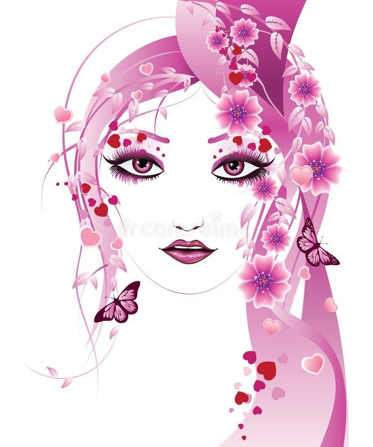 桃红色花卉女孩 皇族释放例证